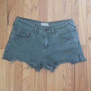 Free People Army Green Cut Off Jean Shorts